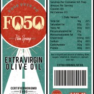 Food Over 50 olive oil bottle label