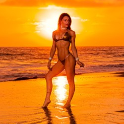 bikini clad brunette fitness model at coastal sunset los angeles
