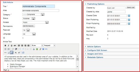 Article edit screen in Joomla 2.5