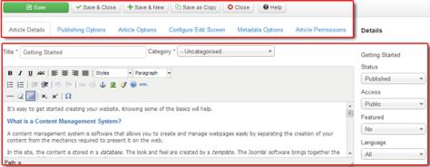 vs. Article edit screen in Joomla 3.0