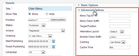 Advanced module settings in Joomla 3.0