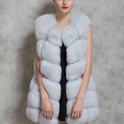 women fur vest white
