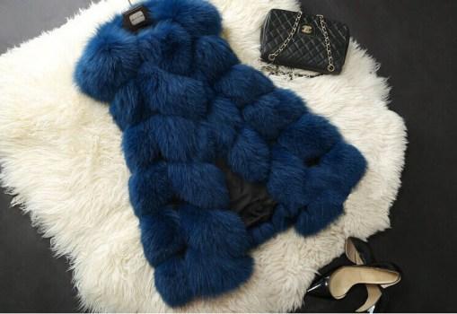 blue fur vest