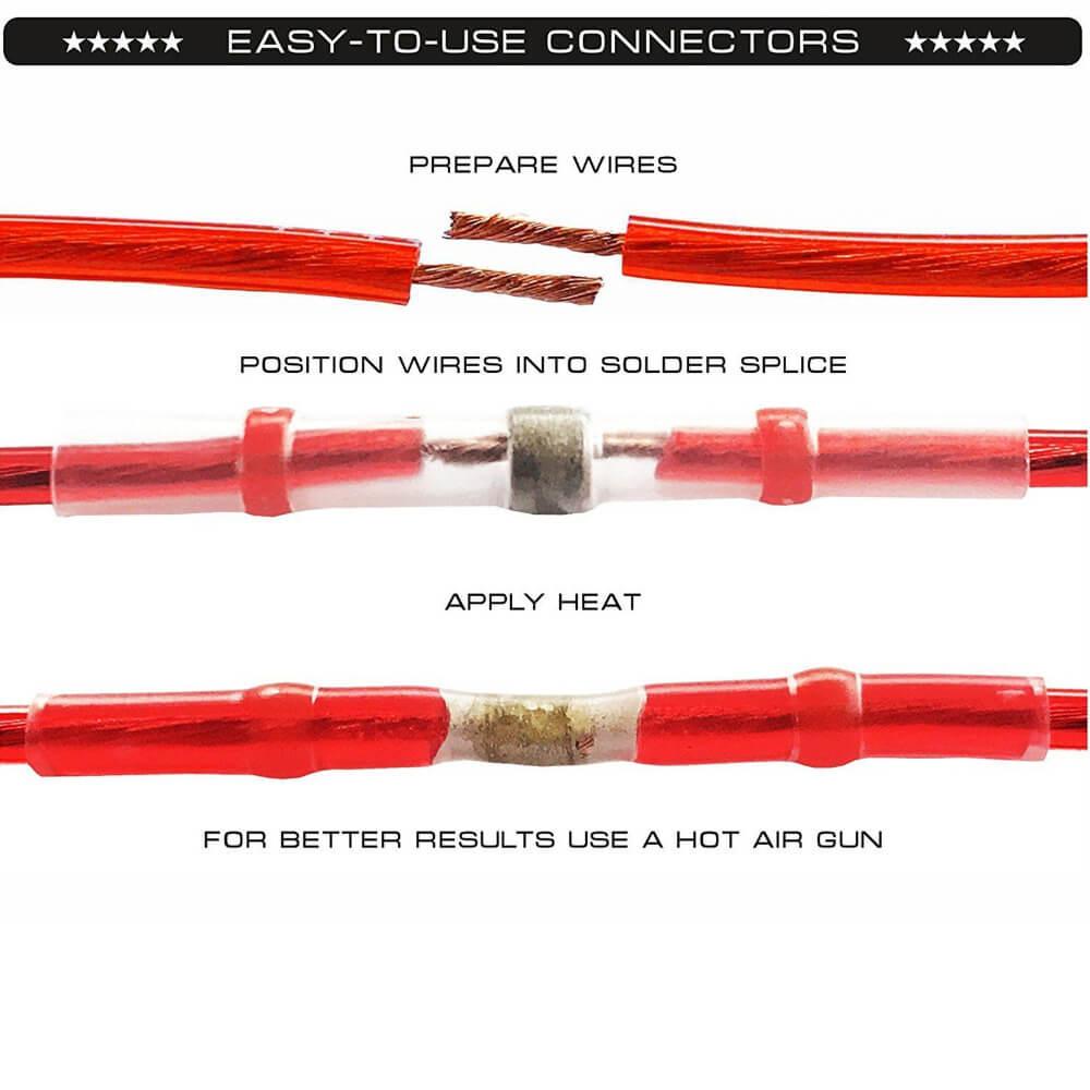 Waterproof Solder Wire Connectors 100pcs Heat Shrink Tubes buy online