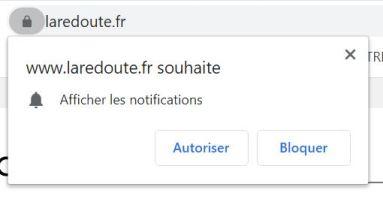 exemple de demande de consentement à recevoir des notifications sur le site de La Redoute