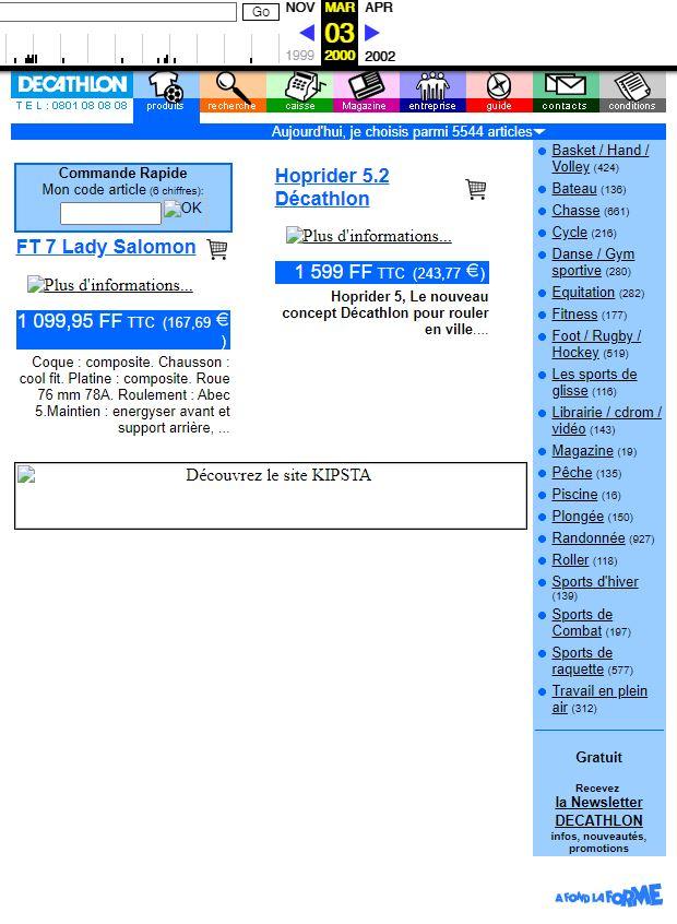 """le site """"vintage"""" de Décathlon tel qu'il apparait en 2000 avec l'outil Wayback Machine"""
