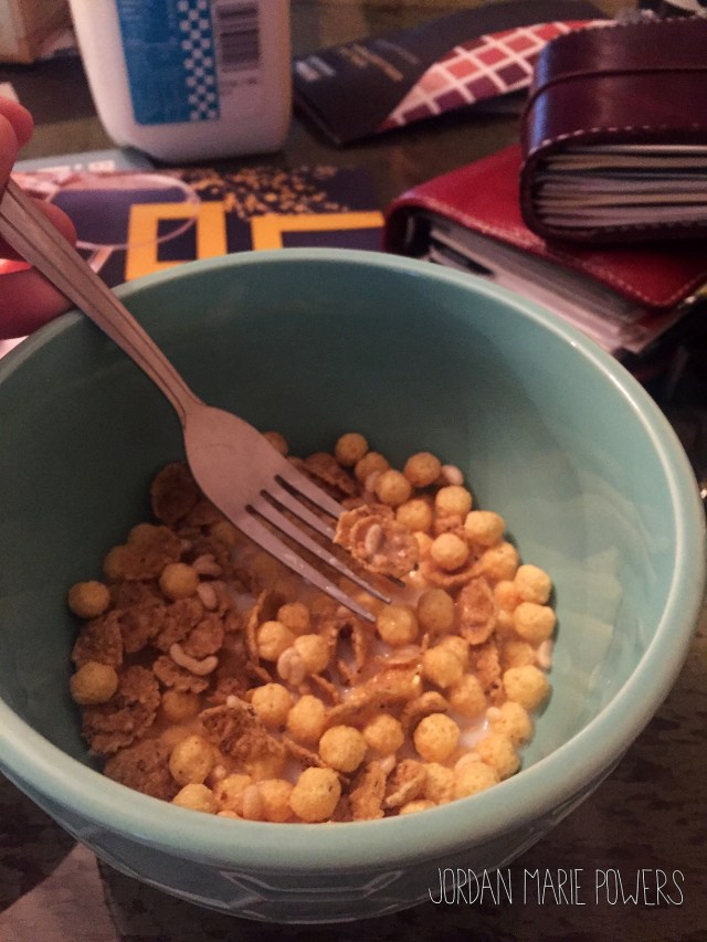 Right when you think you packed everything, you realize you didn't. I did discover that cereal is surprisingly easy to eat with a fork.