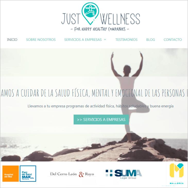 Justwellness cliente diseño de páginas web