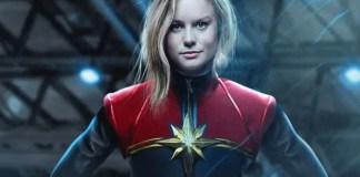 Montagem de Brie Larson como a Capitã Marvel