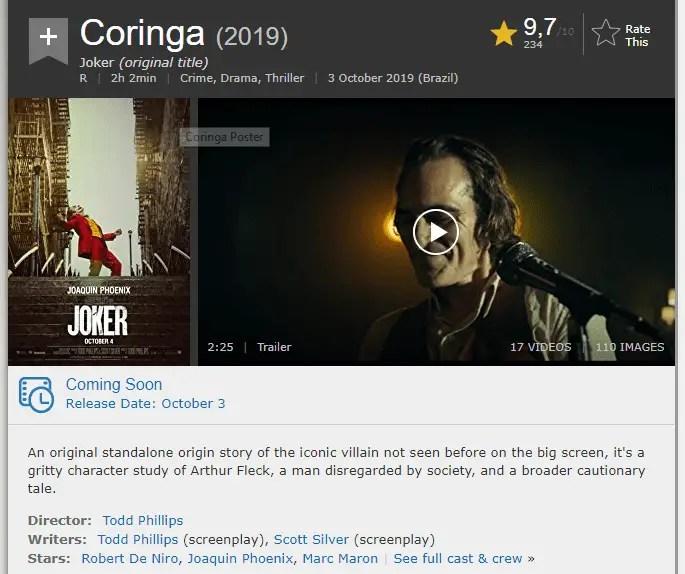 Coringa IMDB nota