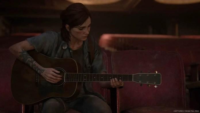Ellie tocando violão em The Last of Us Parte II