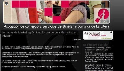 La Asociación de Comercio y Servicios de Binéfar y Comarca de la Litera informan sobre las JornadasMarketingOnline.com