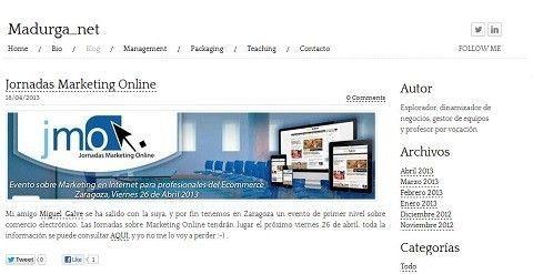 El blog Madurga_net. hace referencia a las JornadasMarketingOnline.com
