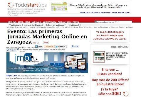 Comunicamos en el blog Todostarups las I Jornadasmarketingonline.com