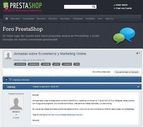 Hemos dado a conocer las I Jornadasmarketingonline.com en el Foro PrestaShop.
