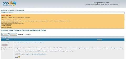 Hemos publicado información sobre las Jornadasmarketingonlie.com en el foro todoprestashop.com