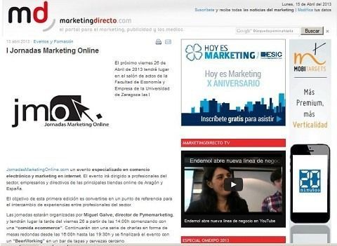Marketingdirecto.com publicita las I Jornadasmarketingonline.com