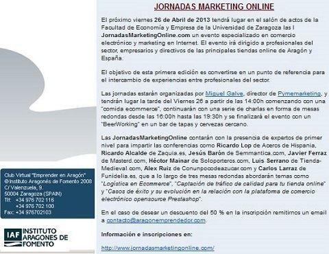 """Club Virtual """"Emprender en Aragón"""" informa sobre las JornadasMarketingOnline.com"""