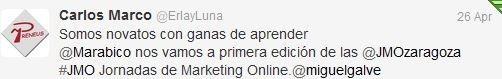 Felicitaciones por las JornadasMarketingOnline Carlos Marco