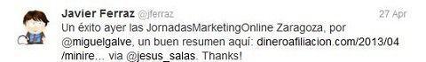 Felicitaciones por las JornadasMarketingOnline Javier Ferraz