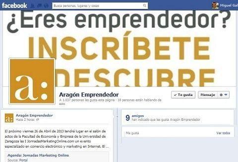 AragonEmprendedor.com cita a JornadasMarketingOnline.com en su facebook