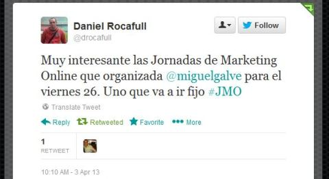 Daniel Rocafull recomendando las JornadasMarketingOnline.com en Twitter