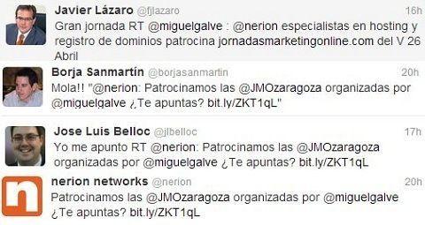 Nerion comunica su apoyo como patrocinador de las JMO en su twitter