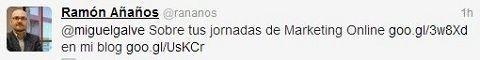 Ramón Añaños cita a Jornadasmarketingonline.com en su twitter