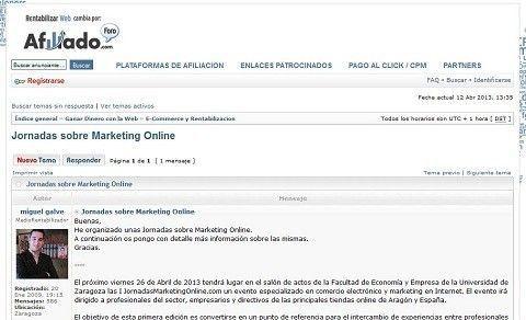 Hemos dado a conocer las Jornadasmarketingonline.com en el foro rentabilizar- web.
