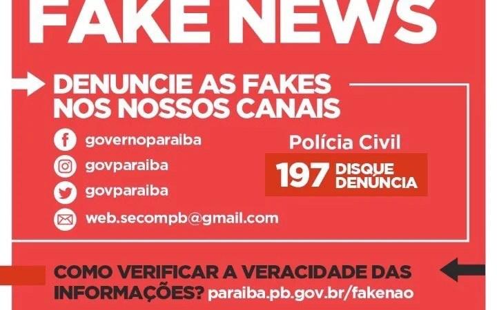 Fake Não: Governo da Paraíba lança site para combater notícias e informações falsas
