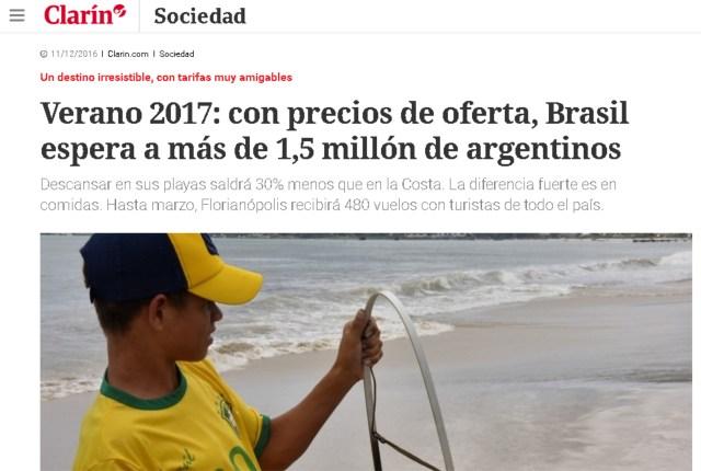 Reportagem do Clarin diz que férias aqui são 30% mais baratas do que na Argentina