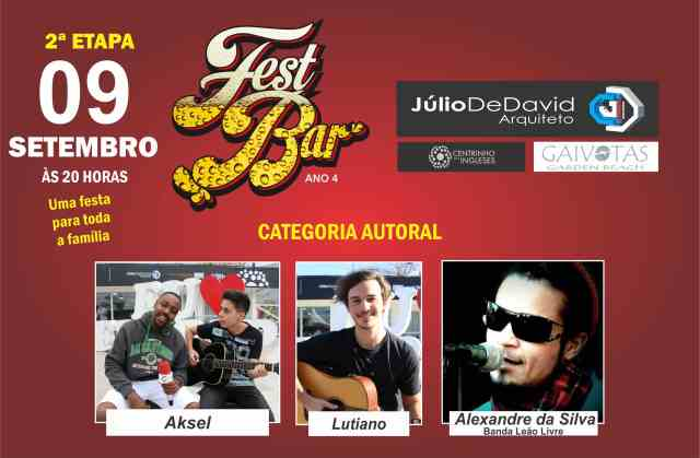 13 cantores vão subir no palco na segunda etapa do Fest Bar neste sábado