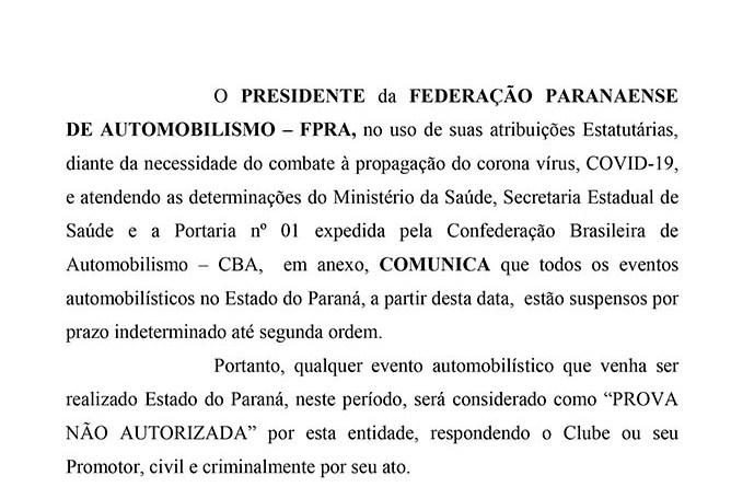 FEDERAÇÃO PARANAENSE DE AUTOMOBILISMO SUSPENDE EVENTOS NO ESTADO