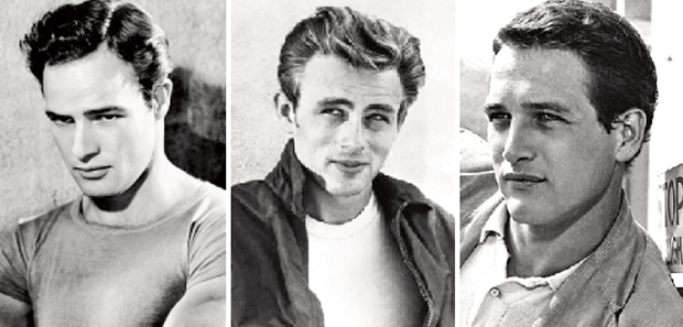Marlon Brando, James Dean e Paul Newman: atores que deviam muito de sua formação artística ao diretor de cinema Elia Kazan. Fotos: Wikipédia Commns, Jamesdean Official Bogspot e eBay