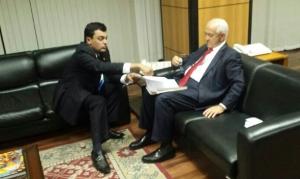 Paulinho Graus em reunião com o ministro do Trabalho, Manoel Dias, em Brasília. Foto: Divulgação