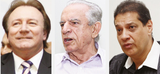 Júnior Friboi, Iris Rezende e Armando Vergílio: dois políticos mais novos ladeiam um político mais experimentado e mais popular | Fotos: Fernando Leite/Jornal Opção