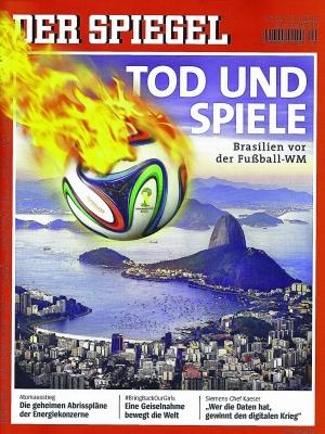 """Tradução do título da fotomontagem: """"Morte e jogos. O Brasil antes da Copa"""""""