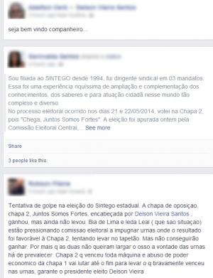 Imagem do perfil do candidato Delson Vieira, da Chapa 2, com mensagens de apoio. Foto: Reprodução/Faceboo