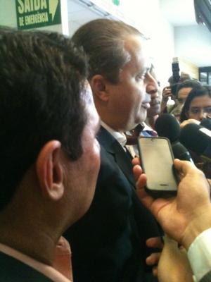 Vanderlan Cardoso e Eduardo Campos durante entrevista coletiva no Centro de Convenções, em Goiânia. Foto: Marcello Dantas/Jornal Opção Online