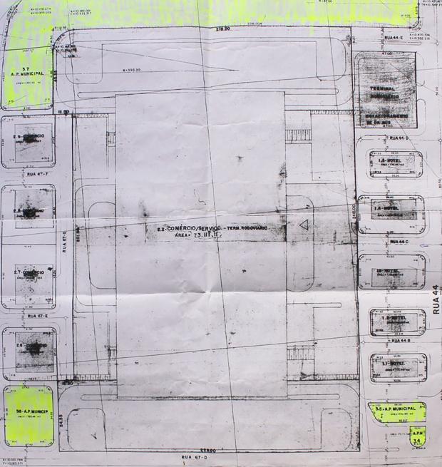 Mapa mostra áreas que estariam em desuso ou ocupada de forma irregular na Rua 44, no Setor Norte Ferroviário, em Goiânia. Foto: Reprodução