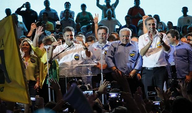 """Com discurso da """"continuidade"""", base aliada lança Marconi Perillo, José Eliton e Vilmar Rocha"""