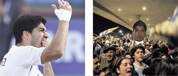Suárez com a mão à boca logo após morder Chiellini e recebido como herói em Montevidéu após ser expulso da Copa:promovido de vilão a injustiçado