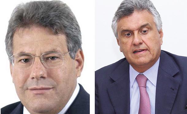 Deputado estadual Luiz Carlos do Carmo (PMDB), à esquerda, e deputado federal pré-candidato ao Senado Ronaldo Caiado (DEM), à direita