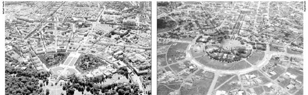 FOTO 1: Cidade alemã de Karlsruhe segue a lógica urbanista de avenidas em direção ao poder central  | FOTO 2: de Goiânia no período de sua inauguração: todas as vias ao encontro do centro político