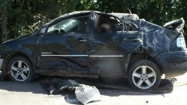 O acidente aconteceu no km 604 da BR-153, em Morrinhos | Foto: PRF