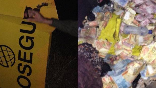 Assaltantes usam fuzis e metralhadoras para explodir e roubar carro-forte em Goiás