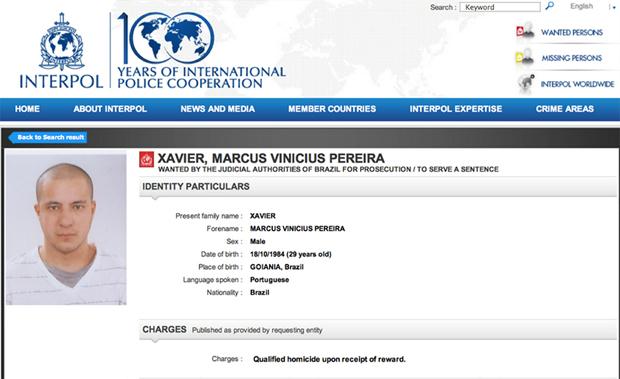 Nome de Marquinhos consta no site da Interpol desde a semana passada