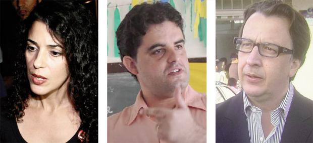 Marta Jane (PCB), Weslei Garcia (PSol) e Alexandre Magalhães (PSDC): meros figurantes na disputa majoritária | Fotos: Reprodução