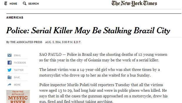 Caso de suposto serial killer em Goiânia é destaque em jornais estrangeiros