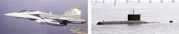Força Aérea vai fechar negócio orçado em R$ 21,2 bilhões pela compra de 36 caças suecos Marinha vai construir um submarino nuclear e quatro convencionais por R$ 31,1 bilhões